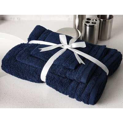 Edged Terry 3 Piece Towel Set Color: Navy