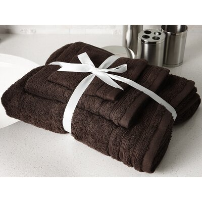 Edged Terry 3 Piece Towel Set Color: Chocolate