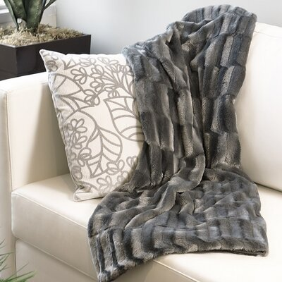 Mink Faux Fur Throw Color: Moon Mist Gray