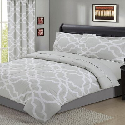 Fontaine Geometric 5 Piece Comforter Set Size: King, Color: Natural Gray