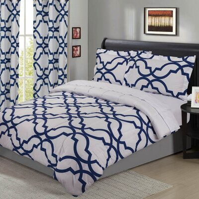 Fontaine Geometric 5 Piece Comforter Set Size: King, Color: Brilliant Blue