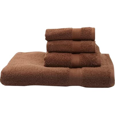 Terry 4 Piece Towel Set Color: Chocolate