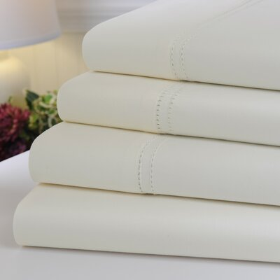 Oxford 1000 Thread Count Hemstitch Egyptian Quality Cotton Sheet Set Color: Ivory, Size: Queen