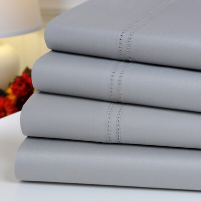 Oxford 1000 Thread Count Hemstitch Egyptian Quality Cotton Sheet Set Color: Silver Gray, Size: Queen
