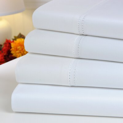 Oxford 1000 Thread Count Hemstitch Egyptian Quality Cotton Sheet Set Color: White, Size: King