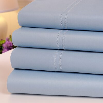 Oxford 1000 Thread Count Hemstitch Egyptian Quality Cotton Sheet Set Color: Blue, Size: Queen