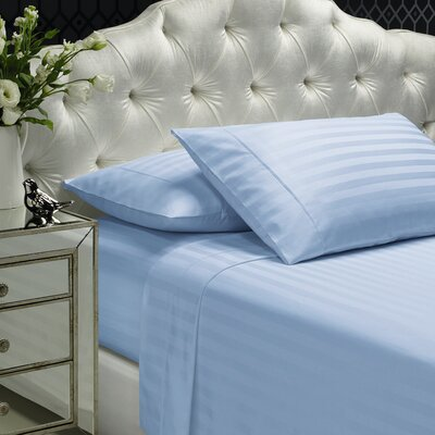 Aura 300 Thread Count 100% Cotton Sheet Set Size: Full, Color: Ice Blue