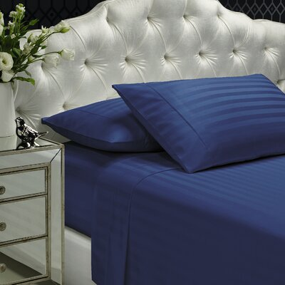Aura 300 Thread Count 100% Cotton Sheet Set Size: Full, Color: Navy