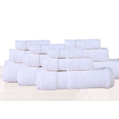 Huntington 12 Piece Towel Set Color: White