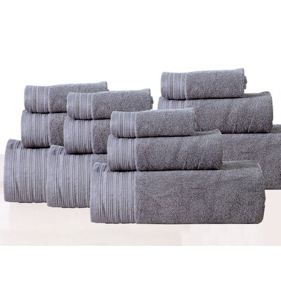 Berkley 12 Piece Towel Set Color: Pewter