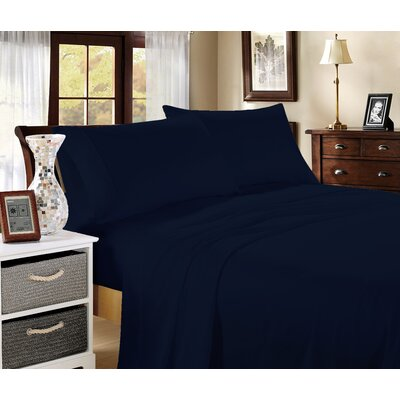 Aura 400 Thread Count 100% Cotton Sheet Set Size: Queen, Color: Navy