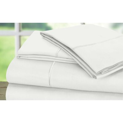 Dream Castle 600 Thread Count 100% Cotton Sateen Marrow Hem 6 Piece Sheet Set Size: King, Color: White