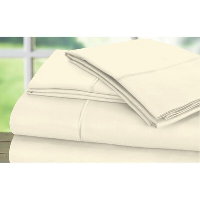 Dream Castle 600 Thread Count 100% Cotton Sateen Marrow Hem 6 Piece Sheet Set Size: Full / Queen, Color: Ecru