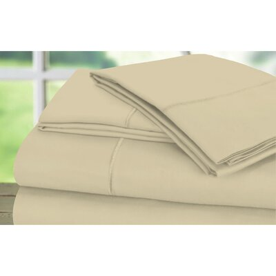 Dream Castle 600 Thread Count 100% Cotton Sateen Marrow Hem 6 Piece Sheet Set Size: Full / Queen, Color: Latte