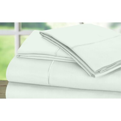 Dream Castle 600 Thread Count 100% Cotton Sateen Marrow Hem 6 Piece Sheet Set Size: Full / Queen, Color: Mint