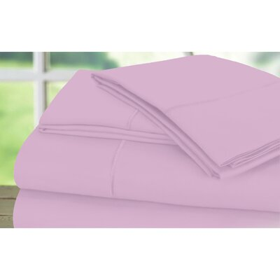 Dream Castle 600 Thread Count 100% Cotton Sateen Marrow Hem 6 Piece Sheet Set Size: King, Color: Orchid