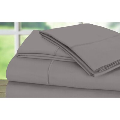 Dream Castle 600 Thread Count 100% Cotton Sateen Marrow Hem 6 Piece Sheet Set Size: Full / Queen, Color: Platinum