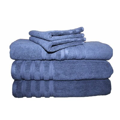 6 Piece 100% Cotton Dream Castle Brentwood Towel Set Color: Azure Blue