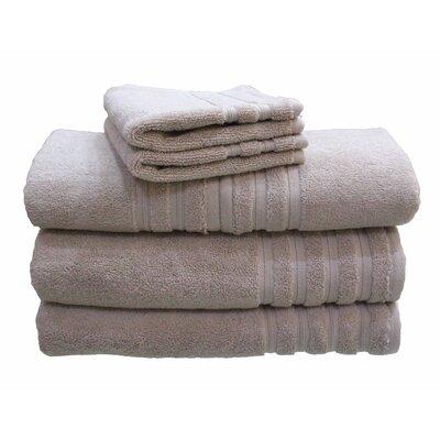 6 Piece 100% Cotton Dream Castle Brentwood Towel Set Color: Sand