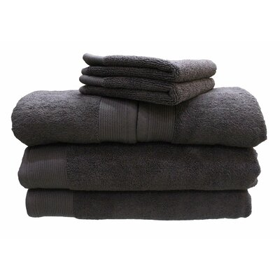 6 Piece 100% Cotton Dream Castle Delano Towel Set Color: Steel