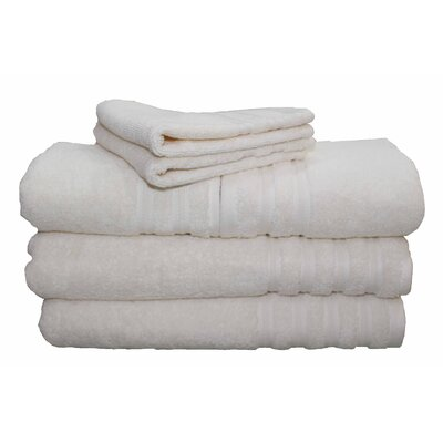 6 Piece 100% Cotton Dream Castle Brentwood Towel Set Color: Ivory
