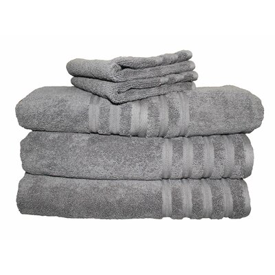 6 Piece 100% Cotton Dream Castle Brentwood Towel Set Color: Iron