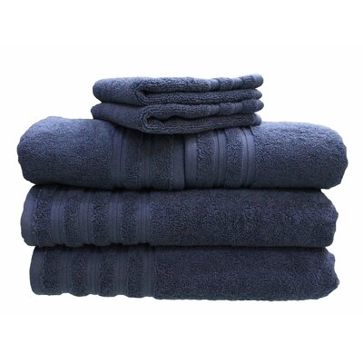 6 Piece 100% Cotton Dream Castle Brentwood Towel Set Color: Indigo