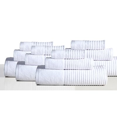 650 GSM 100% Cotton Sensual Spa Avalon 12 Piece Towel Set Color: White
