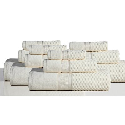 650 GSM 100% Cotton Sensual Spa Hollister 12 Piece Towel Set Color: Ivory