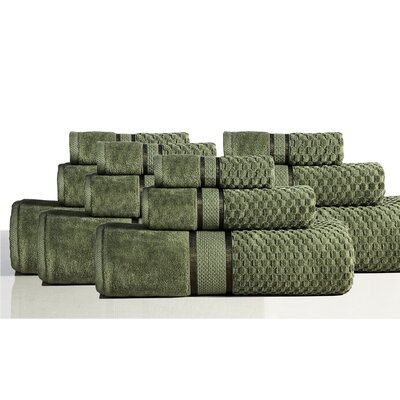 650 GSM 100% Cotton Sensual Spa Hollister 12 Piece Towel Set Color: Moss
