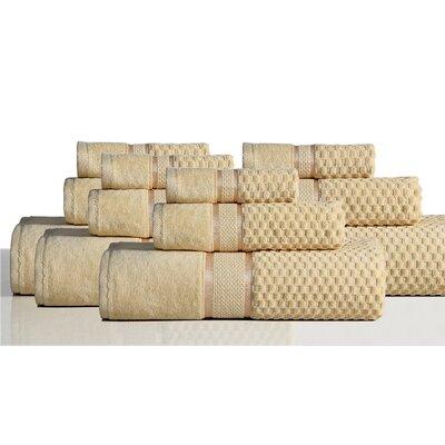 650 GSM 100% Cotton Sensual Spa Hollister 12 Piece Towel Set Color: Honey