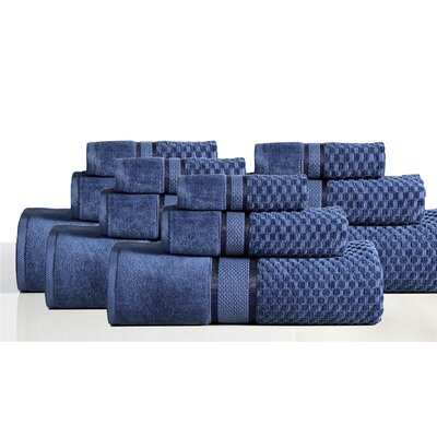 650 GSM 100% Cotton Sensual Spa Hollister 12 Piece Towel Set Color: Blueberry