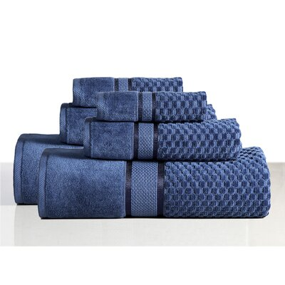 650 GSM 100% Cotton Sensual Spa Hollister 6 Piece Towel Set Color: Blueberry