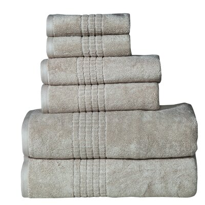 Fleener Mosaic 6 Piece Towel Set Color: Canvas