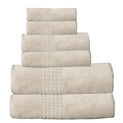 Fleener Mosaic 6 Piece Towel Set Color: Beige