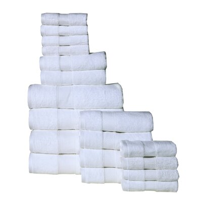 Idaho Falls 18 Piece Towel Set Color: White