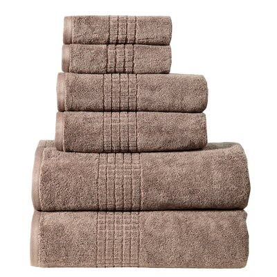 Fleener Mosaic 6 Piece Towel Set Color: Mocha