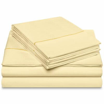 Chassidy 800 Thread Count 100% Cotton 6 Piece Sheet Set Size: Queen, Color: Ivory