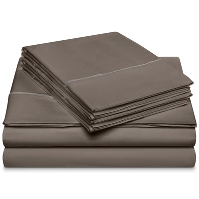 Chassidy 800 Thread Count 100% Cotton 6 Piece Sheet Set Size: King, Color: Charcoal