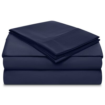 Ansel 500 Thread Count 100% Cotton 4 Piece Sheet Set Size: Queen, Color: Navy