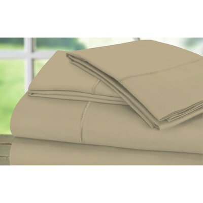 Sunnie 600 Thread Count 100% Cotton Sheet Set Size: King, Color: Latte