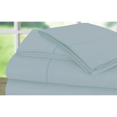 Sunnie 600 Thread Count 100% Cotton Sheet Set Size: King, Color: Blue Fog