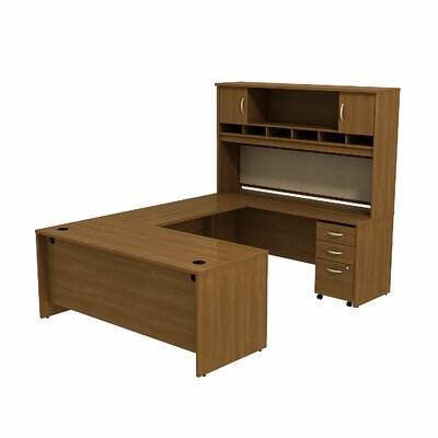 Series C U-Station with 2-Door Hutch and 3-Drawer Mobile Pedestal Finish: Warm Oak/Warm Oak Product Image 22