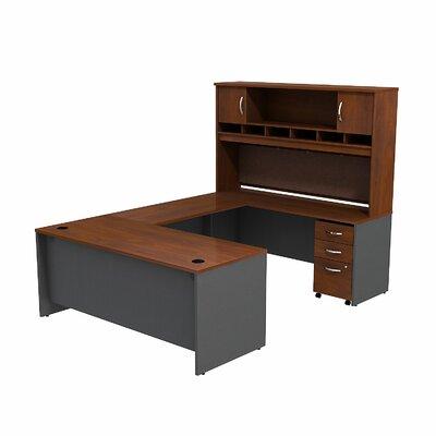 Series C 2 Piece U-Shape Desk Office Suite Finish: Hansen Cherry/Graphite Gray SRC004HCSU