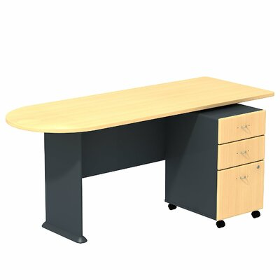 Series A 29.78 H x 71.18 W Desk Peninsula Finish: Beech/Slate