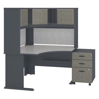 Series A Corner Desk with Hutch and 3-Drawer Mobile Pedestal Finish: Slate White Spectrum Product Image 22