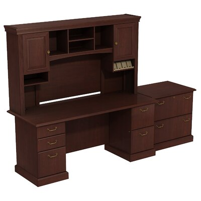 Syndicate Double Pedestal Office Desk with Hutch and Lateral File Finish: Harvest Cherry Product Picture 6883