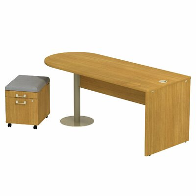 Quantum 30 H x 29 W Freestanding Peninsula Desk and Mobile Pedestal Finish: Modern Cherry Product Photo 1030