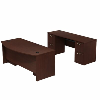 Double Pedestal Bow Front Desk Office Suite Quantum Product Image 111