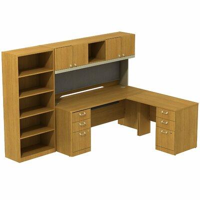 Bush Furniture Quantum L-Shape Office Desk with Hutch and 5 Shelf Bookcase - Orientation: Right, Finish: Modern Cherry